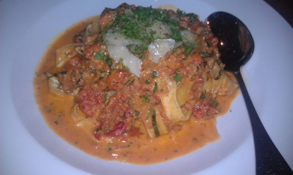 Pasta Bolognese (fresh pappardelle pasta, ground veal, pork, and beef, shaved pecorino, basil, and cracked black pepper - $25)