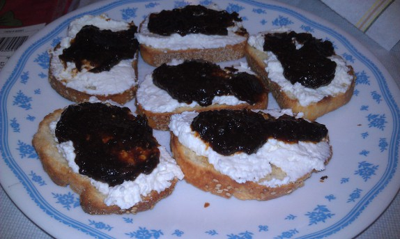 Fig butter and ricotta topped crostini