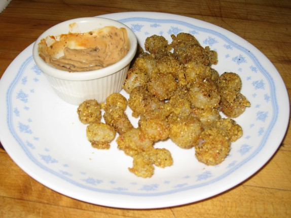 Cornmeal crusted rock shrimp