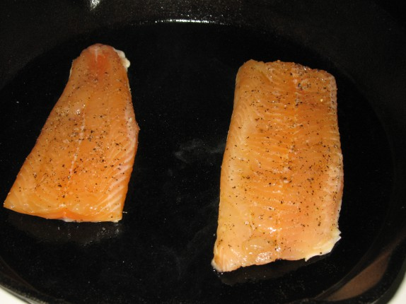 Arctic Char onto the cast iron
