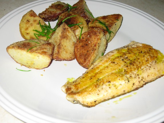 Roasted potatoes with arctic char