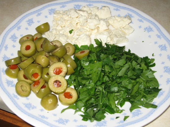 Olives, parsley, and feta