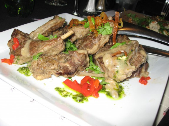 Roasted lamb chops with accompaniments I can't remember