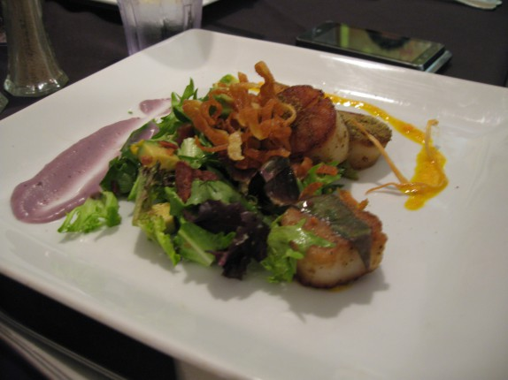Fennel Encrusted Seared Scallops over a Okinawan purple potato puree, carrot pistou, avocado-lemon salad