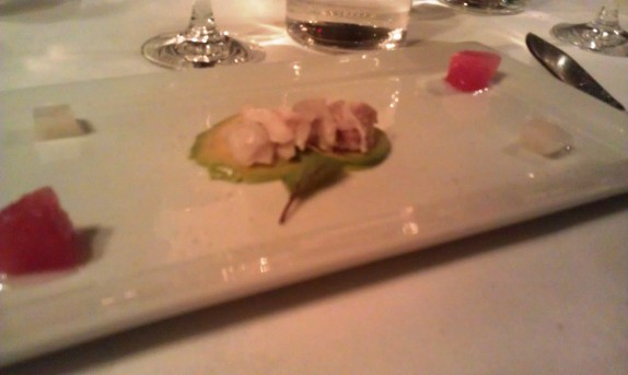 Cape Cod Fluke Ceviche (Consommé Gelée, Compressed Watermelon, Avocado, Smoked Sea Salt)