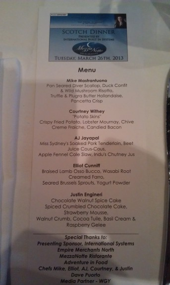 Scotch Dinner Menu