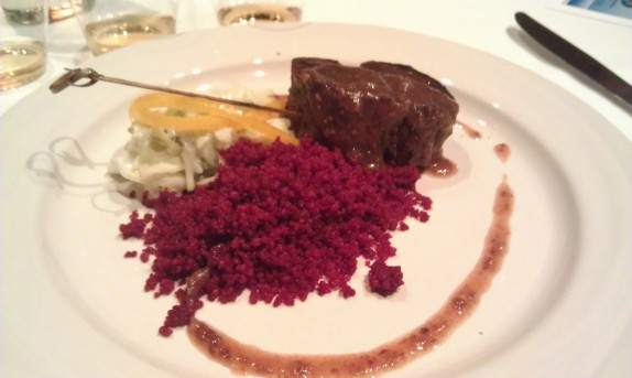 Miss Sydney's Soaked Pork Tenderloin, Beet Juice Cous-Cous, Apple Fennel Cole Slaw, Indu's Chutney Jus