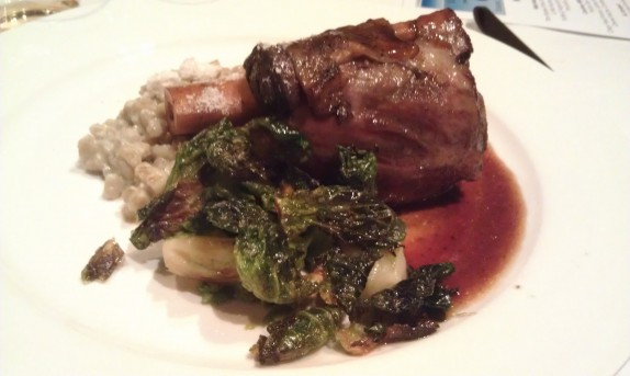 Braised Lamb Osso Bucco, Wasabi Root Creamed Farro, Seared Brussels Sprouts, Yogurt Powder