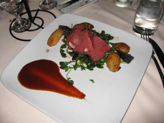 Spit-roasted American Bison over wilted locally grown winter greens, tossed in an herb-shallot vinaigrette, with roasted fingerling potatoes and a cocoa espresso barbecue sauce $38.00