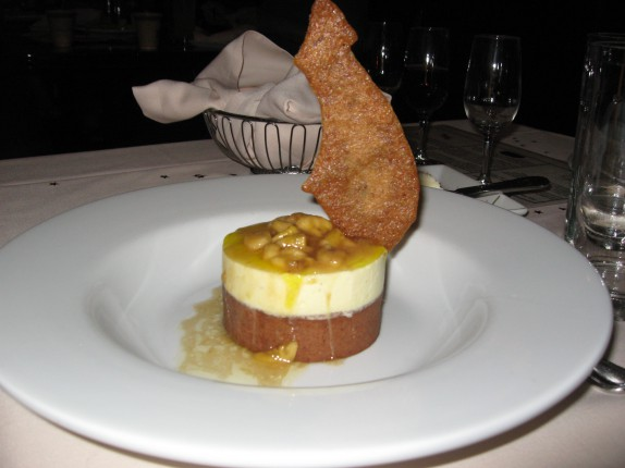 Banana White Chocolate Toffee Tower - on Cocoa-Almond Cookie and Bananas Foster
