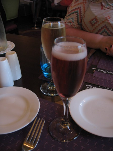 Champagne cocktail with cassis