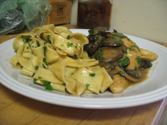 Chicken marsala with homemade tagliatelle