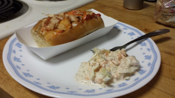 Lobster roll and cole slaw