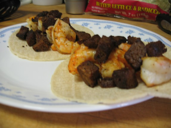 Shrimp and seitan chorizo tacos