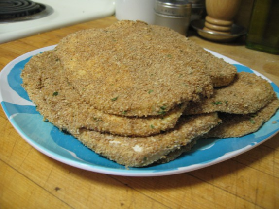 Breaded eggplant slices