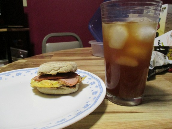 Ham egg and cheese and lemonade