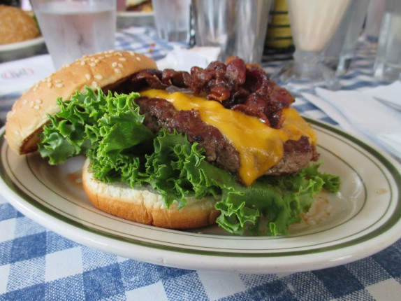 BACON AND CHEDDAR BURGER $9.75  thick hickory bacon, aged cheddar, ltp*