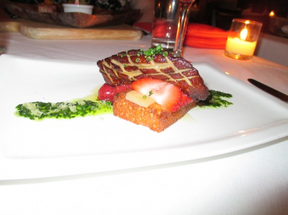 Seared Hudson Valley Foie Gras (market strawberry jam and macerated rhubarb)