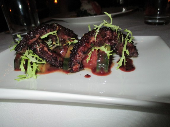 Charred Octopus (market cress, marinated cucumber and watermelon)