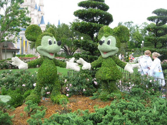 Mickey and Minnie made from trees