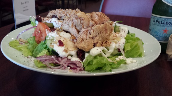 Dilmun salad with chicken and tahini yogurt dressing