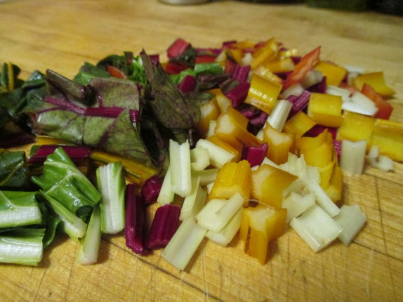 Chopped chard stalks