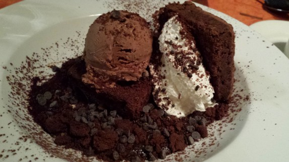 """Ultimate Stoner Chocolate Experience"" (A big kitchen sink sundae of fudgie brownie, killer chocolate ice cream, warm chocolate-coconut ganache, cocoa nibs, chopped chocolate, and whipped cream - $10)"