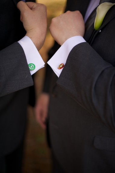 Green Lantern and Iron Man cuff links.