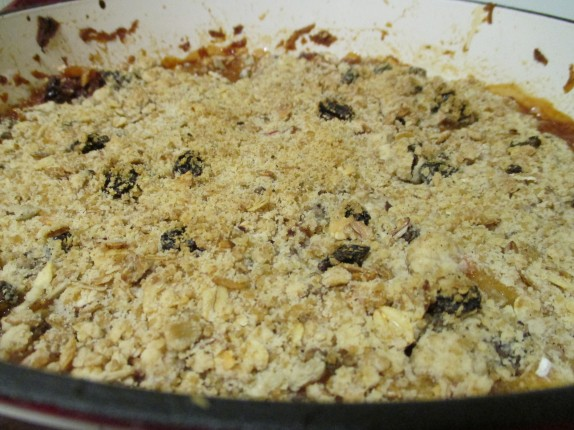 Finished apple crumble