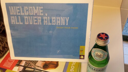 Welcome sign + Pellegrino