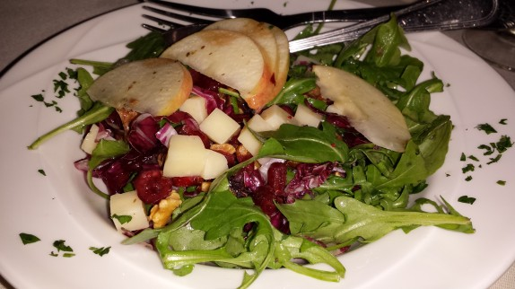 ATHOS SEASONAL SALAD arugula, radicchio, apples, dried cranberries, kasseri cheese, roasted walnuts, with apple cider vinaigrette