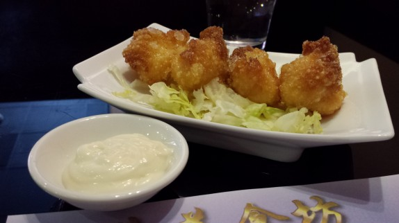 Deep fried shrimp dumplings with mayonnaise