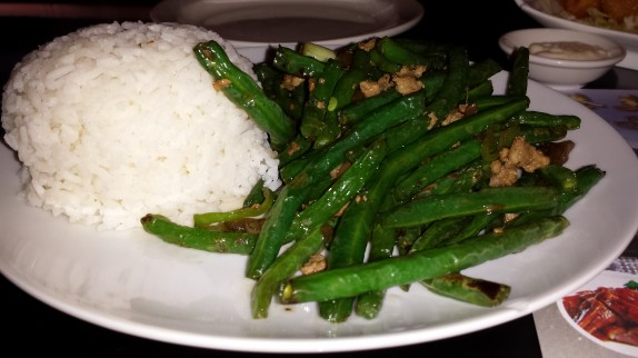 Dry sauteed string beans with rice