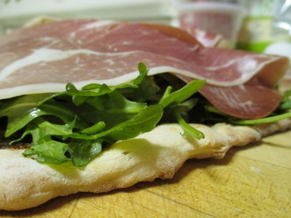 fig jam, arugula, and proscuitto