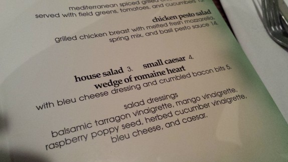 Wedge salad menu