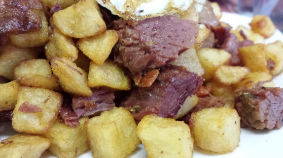 Fried potatoes and homemade brisket