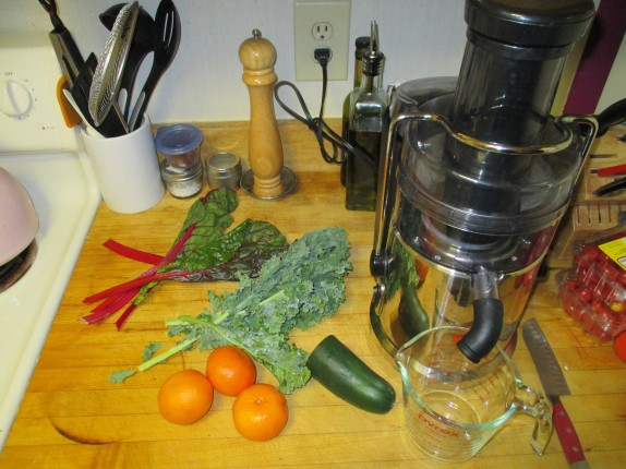 Cucumber, kale, chard, clementines