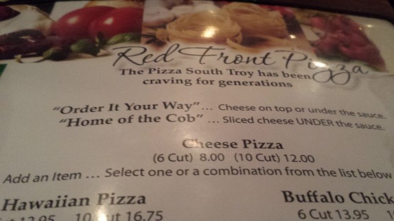 Red Front Pizza Menu