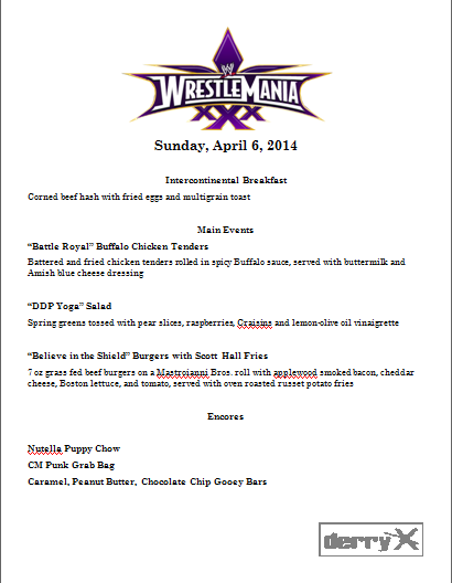 Wrestlemania XXX menu