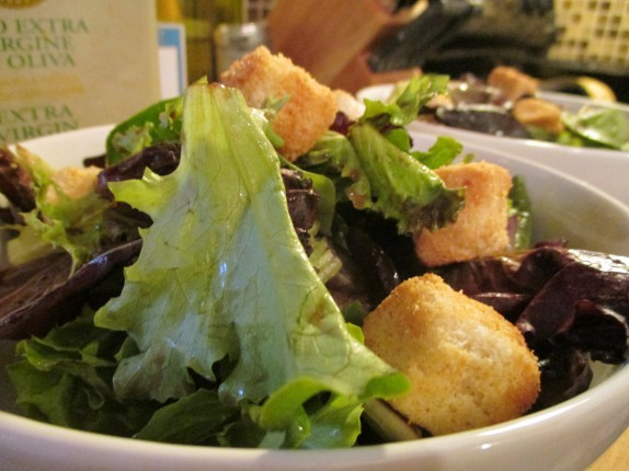 salad with spring mix, Texas toast croutons, and raspberry balsamic vinaigrette