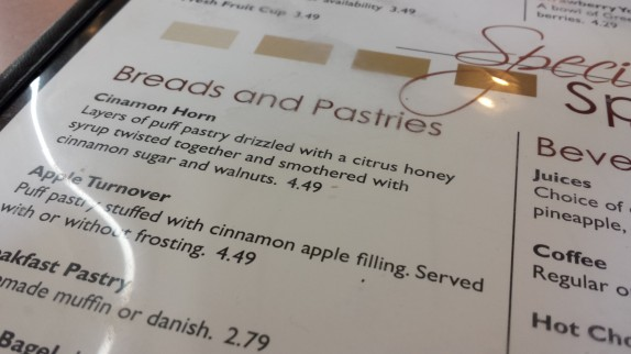 Cinnamon Horn on menu