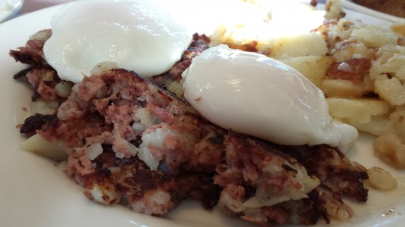 Corned beef hash with poached eggs at Farmer Boy