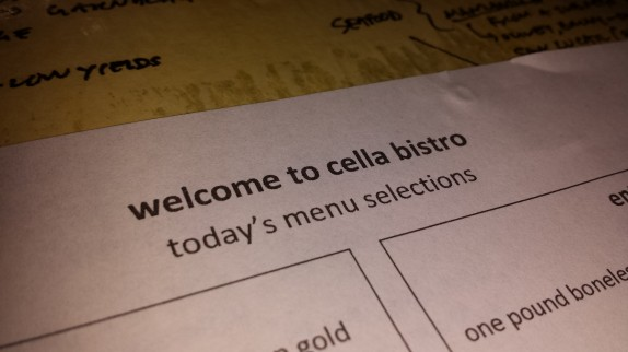Cella Bistro Daily menu