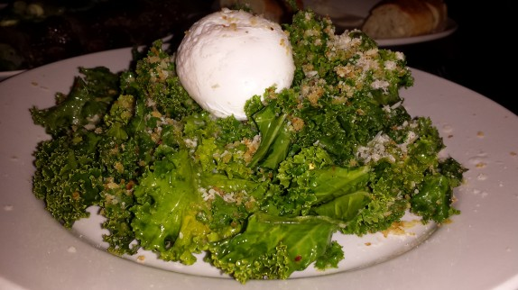 Kale salad - lemon garlic vinaigrette, Parm. Reg., toasted bread crumbs, poached egg - $8