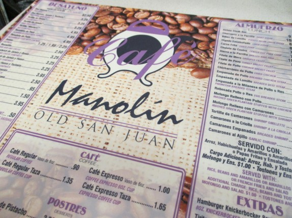 Cafe Manolin Menu/Placemat
