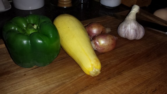 Green Pepper, Yellow squash, shallots, garlic