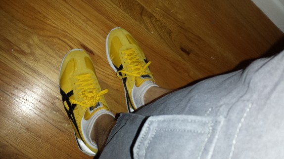 Yellow and black Onitsuka Tigers