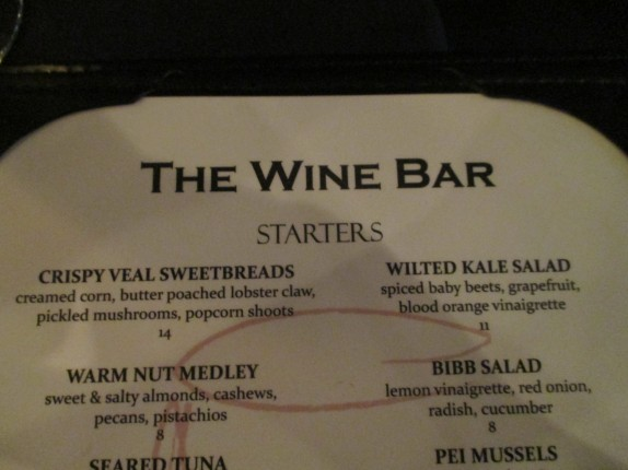 The Wine Bar menu