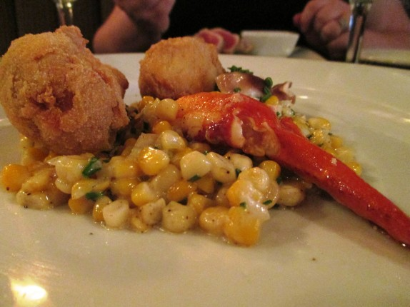 CRISPY VEAL SWEETBREADS creamed corn, butter poached lobster claw,  pickled mushrooms, popcorn shoots 14
