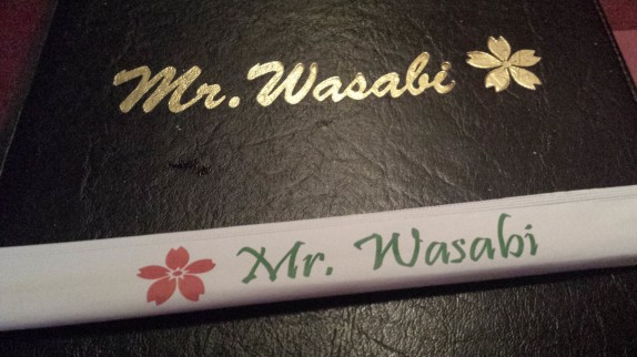 Mr Wasabi Menu and chopsticks